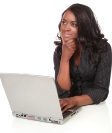 Black Woman on Laptop Thinking