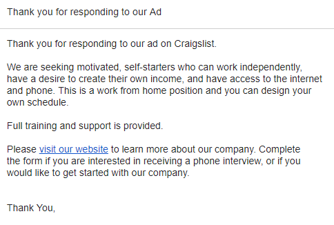 Canned Response | Leads From Craigslist